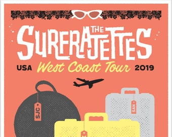 "The Surfrajettes West Coast USA Tour Poster 11x17"""