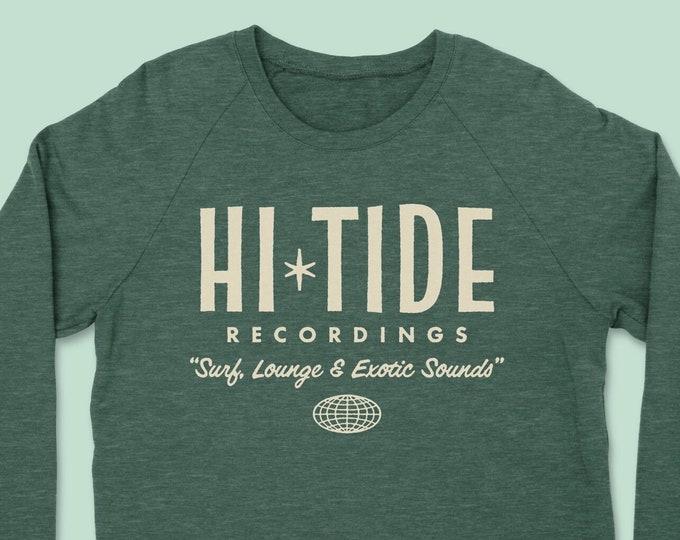 "Hi-Tide Recordings ""Surf, Lounge & Exotic Sounds"" Crewneck Sweatshirt (Dusty Pine)"