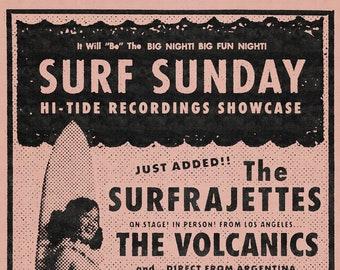 "The Surfrajettes Surf Sunday Alex's Bar Poster 11x17"""