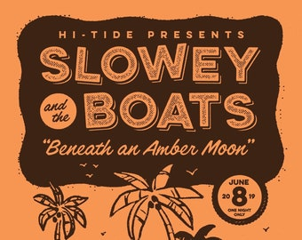 "Slowey and The Boats ""Beneath an Amber Moon"" Mai-Kai Serigraph 18x24"""