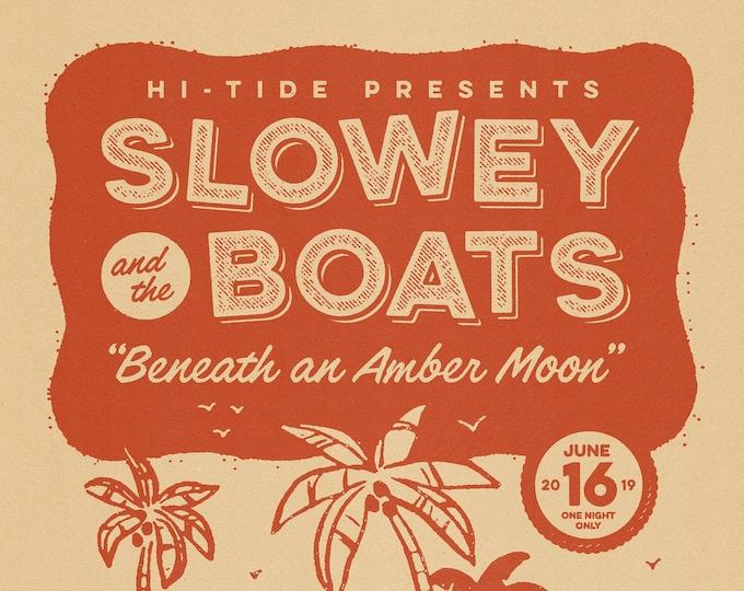 "Slowey and The Boats ""Beneath an Amber Moon"" Dawson Street Serigraph 18x24"""