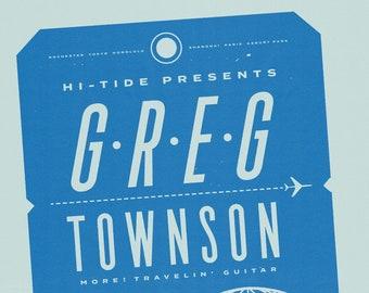 "Greg Townson ""More! Travelin' Guitar"" Abilene Lounge Serigraph 18x24"""