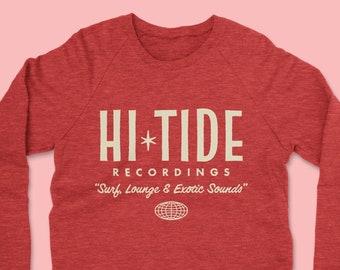 "Hi-Tide Recordings ""Surf, Lounge & Exotic Sounds"" Crewneck Sweatshirt (True Red)"
