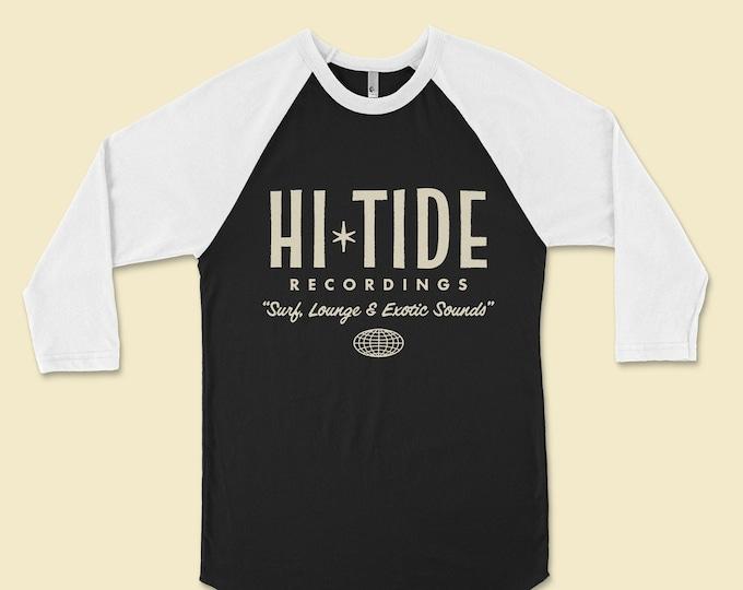 "Hi-Tide Recordings ""Surf, Lounge & Exotic Sounds"" Raglan (Black Magic)"