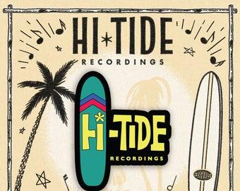 """Hi-Tide Recordings """"Surfboard"""" Enamel Pin"""