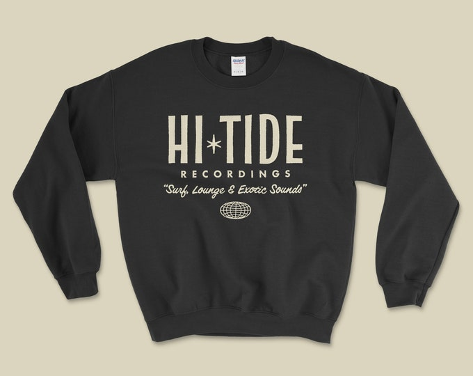 "Hi-Tide ""Surf, Lounge & Exotic Sounds"" Crewneck Sweatshirt (Black Magic)"
