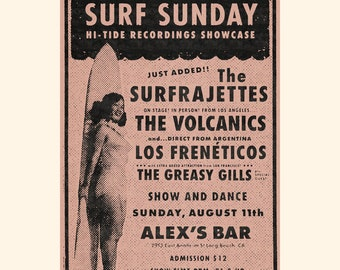 The Surfrajettes Surf Sunday Alex's Bar Poster