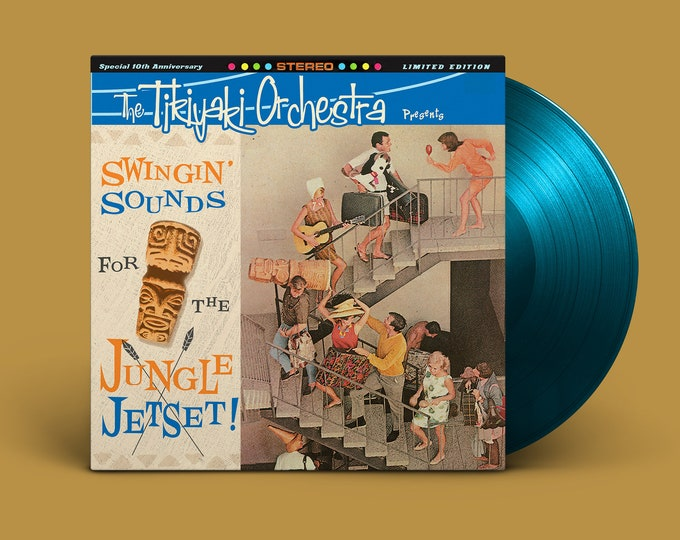 """The Tikiyaki Orchestra """"Swingin' Sounds for the Jungle Jetset!"""" 10-Year Anniversary LP - Sea Blue (First Pressing)"""