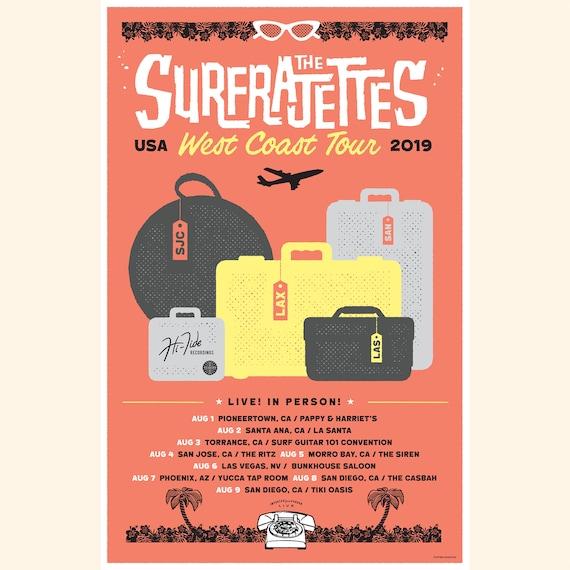 The Surfrajettes West Coast USA Tour Poster