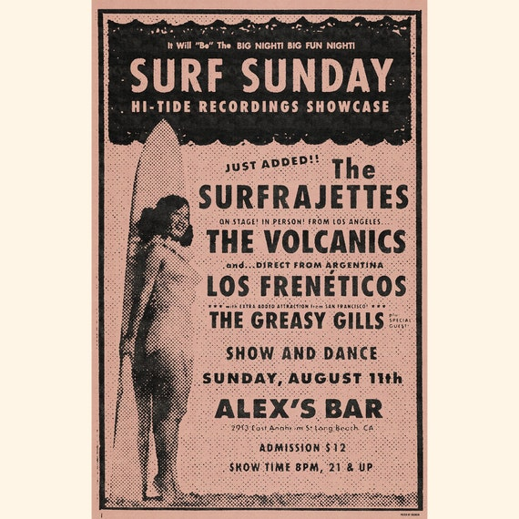 The Surfrajettes Surf Sunday Alex's Bar Poster