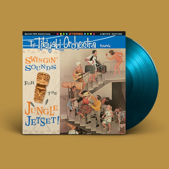 "The Tikiyaki Orchestra ""Swingin' Sounds for the Jungle Jetset!"" 10-Year Anniversary LP - Sea Blue (First Pressing)"