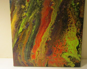 12x12 fluid painting on wrapped canvas