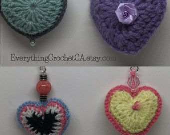 Crocheted Heart Keychains