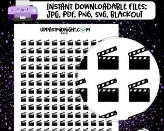 Simple Black Movie Icons » Printable Planner Stickers » Icons » Erin Condren » Mambi » Plum Paper » UPMNow » 1037P