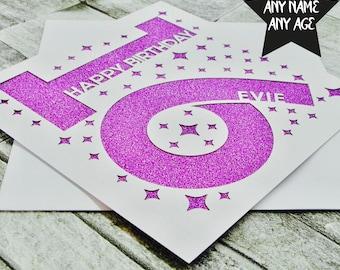 Personalised 16th Birthday Card Sweet Sixteen Age 16 Boy Girl Lasercut Handmade