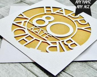Personalised 80th Birthday Card Age 80 Eightieth For Her Mum Grandma Dad Lasercut Handmade