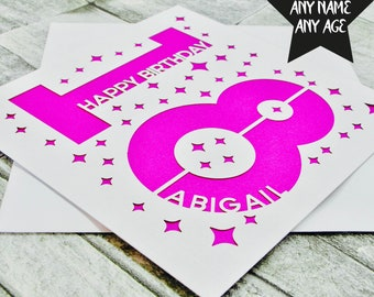 Personalised 18th Birthday Card Age 18 Sister Daughter Friend Son For Her Lasercut
