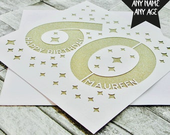 Personalised 60th Birthday Card Age 60 Sixty Sixtieth Mum Dad Handmade Lasercut
