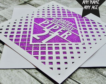 Personalised 21st Birthday Card Age 21 Name Brother Sister Daughter Lasercut Handmade