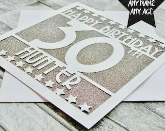 Personalised 30th Birthday Card Age 30 Thirty Sister Mum Dad Daughter Lasercut Handmade