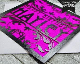 Personalised Birthday Card Personalised Happy Birthday Card Happy Birthday Card 18th 21st 30th 40th 50th 60th Lasercut Handmade Papercut