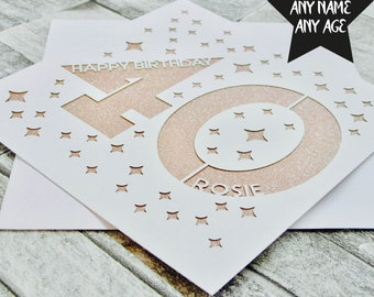 Personalised 40th Birthday Card Age 40 Forty Sister Mum Dad Lasercut Handmade