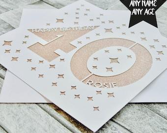Personalised 40th Birthday Card Age 40 Forty Sister Mum Dad Lasercut Handmade