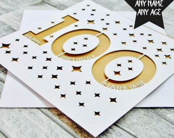 Personalised 100th Birthday Card Age 100 One Hundred Mum Dad Grandad Grandma For Her Lasercut Handmade