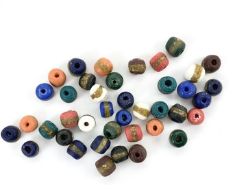 Choice of Quantity 15mm African Glass Beads Black Stripe Kente BLACK Kente Glass Beads 15mm Sizes Kente Tribe Glass Beads from Africa