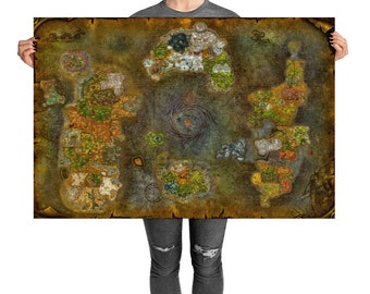 Warcraft map etsy world of warcraft map azeroth poster gumiabroncs Gallery
