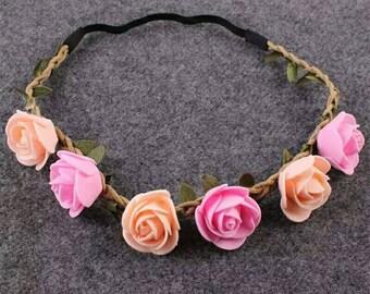 9ff6db51660 1PC Pink Kids Handmade Rose Flower Headband Hairband Wreath Headdress Band  Accessories