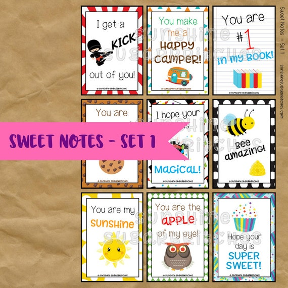 Sweet Notes Set 1 Lunchbox Notes 9 Designs 6 Blank PRINTABLE Lunch Box Encouragement Appreciation School Kids INSTANT DOWNLOAD Digital File