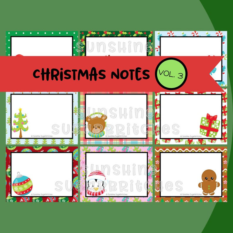 Christmas Lunchbox Notes Vol 3 PRINTABLE Lunch Box Notes Holidays December Encouragement 9 Designs School Kids INSTANT DOWNLOAD Digital File