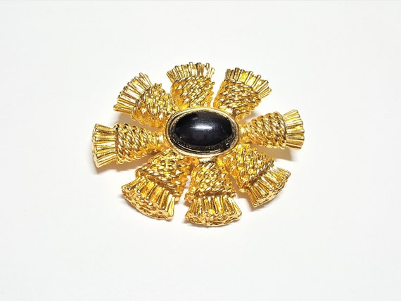 Medal Style Diamante Cross Charm Brooch Gold Tone