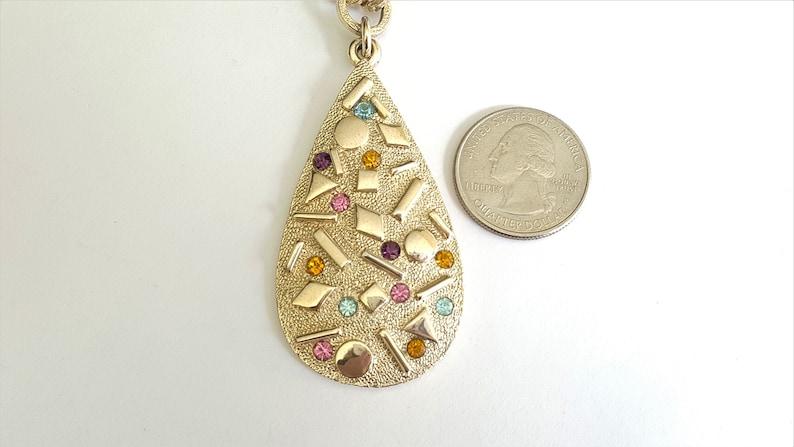 Sarah Coventry Sultana Full Parure Gold Tone with Multicolor Rhinestones Sarah Zade Line 1959 Rhinestones Bracelet Teardrop Pendant Earrings