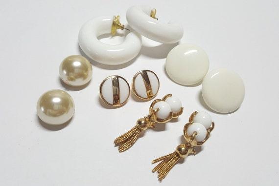 0b1fe54925a White Earrings Set of 5 pairs Clip on Earrings Set of 3