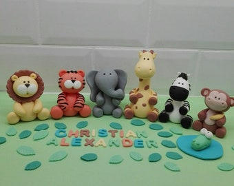 Fondant Jungle Animals Cake Toppers Set