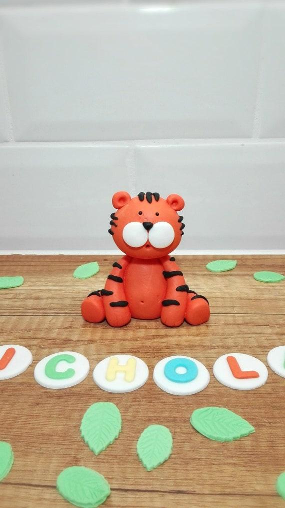 Fondant Tiger Edible Cake Topper Safari Zoo Birthday Cake Topper Personalized Made To Order