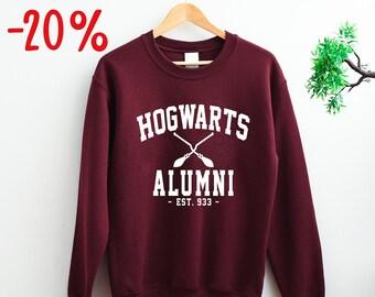 3689bc493f5f3 UNISEX Harry Potter Hogwarts Alumni Sweatshirt Xmas Christmas Gifts For Fan  Magic Pott Head School Wizardry Wizards sweat shirt