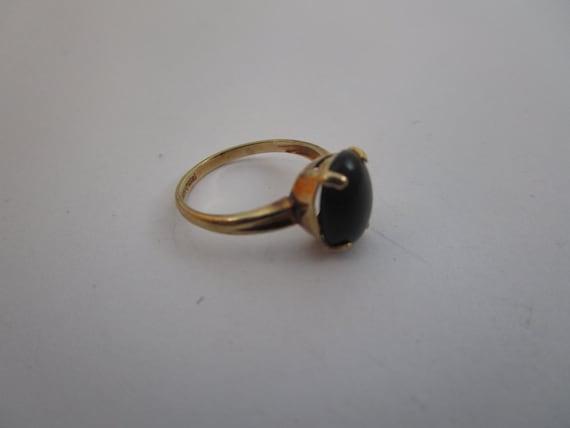 Antique 10K Gold & Solitaire Black Onyx Stone Lad… - image 4