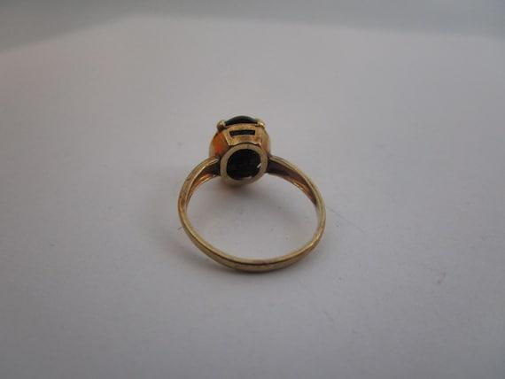 Antique 10K Gold & Solitaire Black Onyx Stone Lad… - image 5