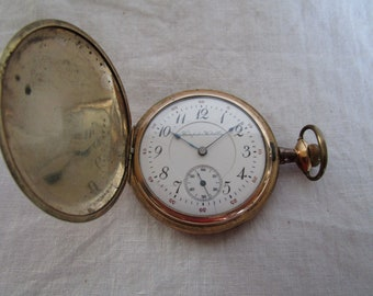 Antique Hunting Case Hampden Watch Co Pocket Watch with Engraved Case 17 jewels