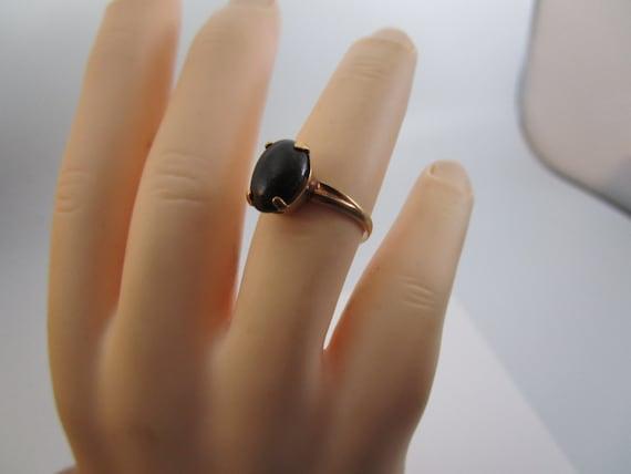 Antique 10K Gold & Solitaire Black Onyx Stone Lad… - image 1