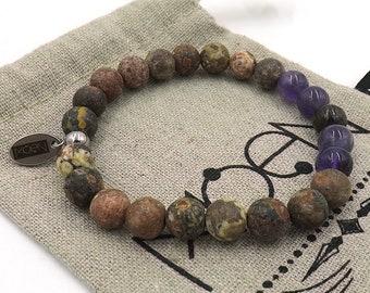 MOEN Grun bracelet/leopard skin, amethyst and Bronzonita