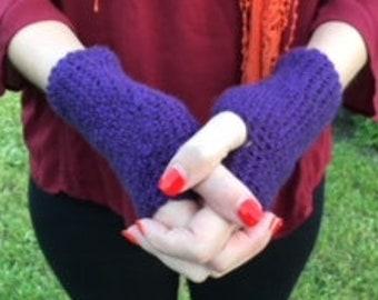 Purple Crochet Fingerless Gloves