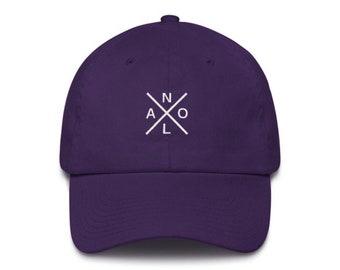 3293d82366eb70 New Orleans Hat - NOLA Cross Hat, Purple (Mardi Gras Edition)