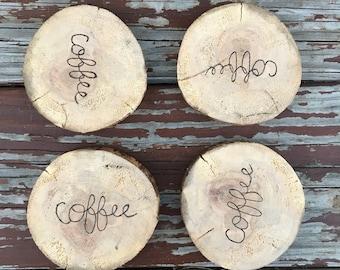 COFFEE live edge wood slice coasters