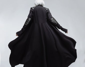 0ec136694a Black asymmetric coat, black cloak gothic clothing, futuristic urban  clothing, dark fashion, industrial clothing, vampire cloak coat