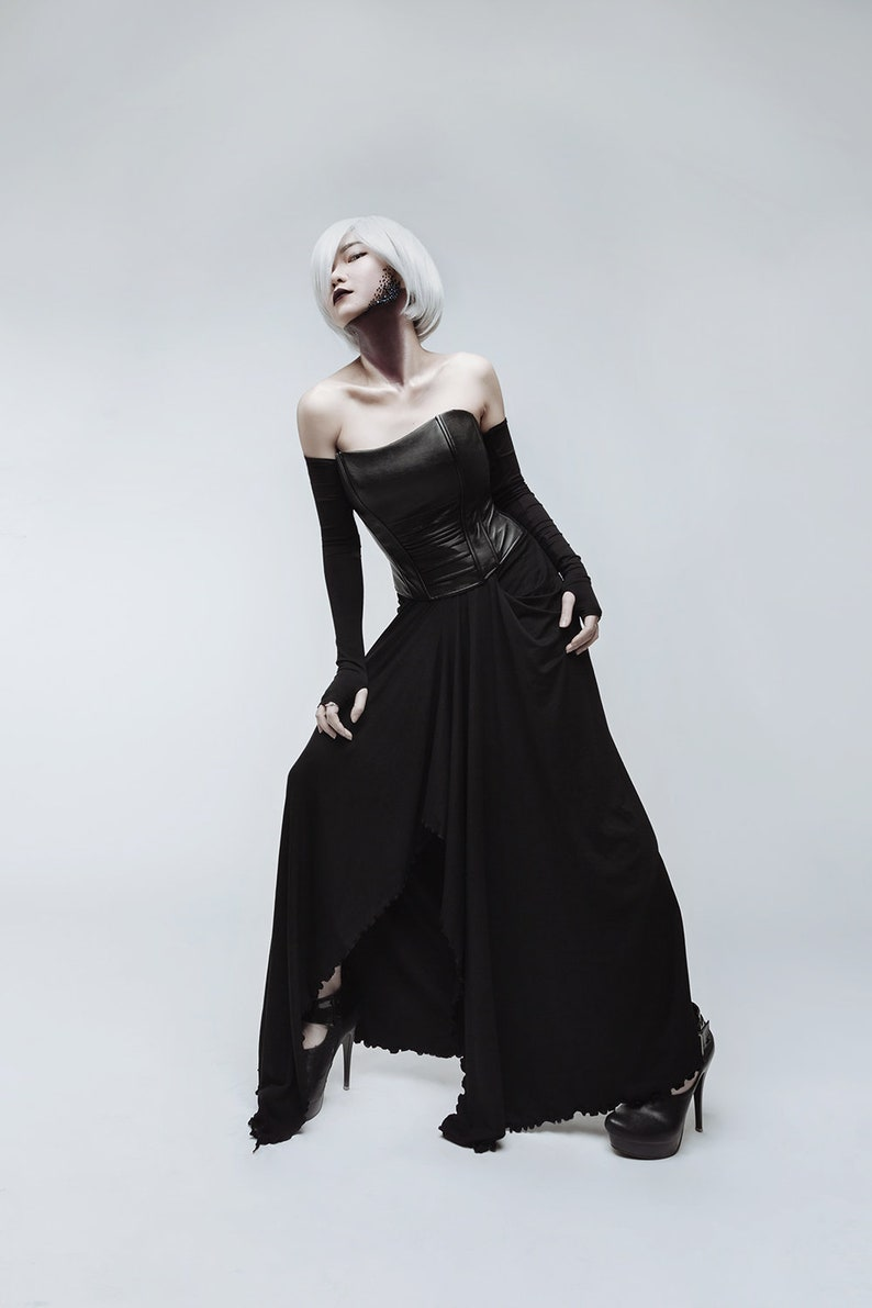 aaa4ff5869f Black long skirt and leather corset dark fashion gothic