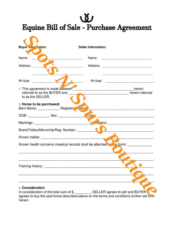 Horse Equine Bill Of Sale Purchase Agreement Etsy